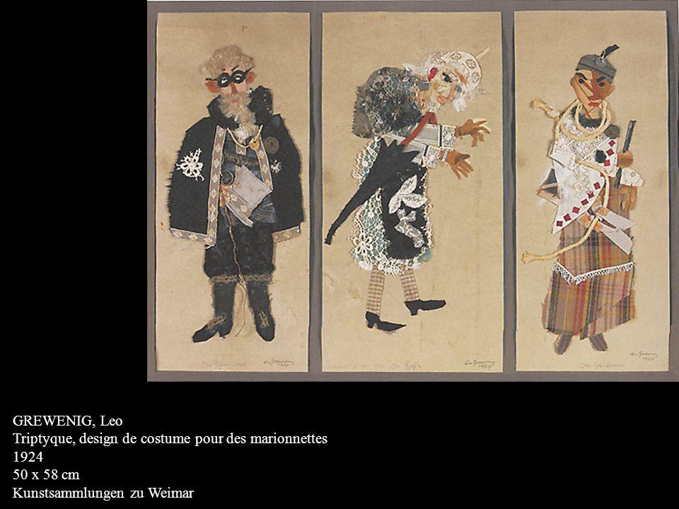 GREWENIG, Leo Triptyque, design de costume pour des marionnettes 1924 50 x 58 cm Kunstsammlungen zu Weimar