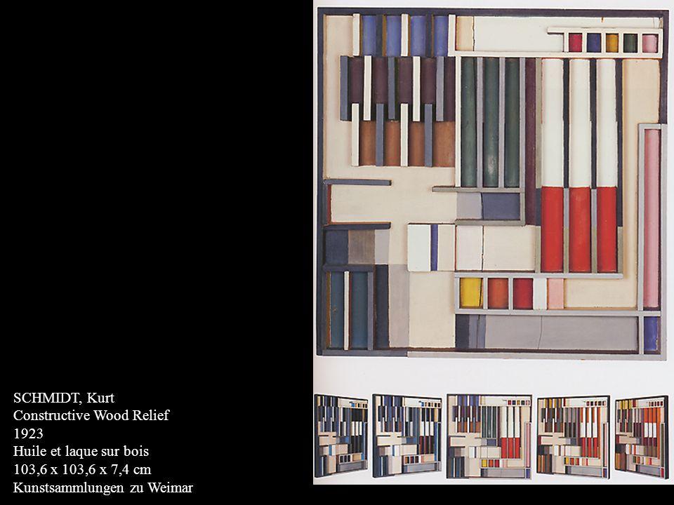 SCHLEMMER, Oskar Bauhaus Staircase 1932 Huile sur toile 63 3/4 x 40 1/2 pouces Museum of Modern Art, New York Schlemmer qui dirigea un temps latelier en peinture murale peignit cet escalier quand il apprit la fermeture prochaine du Bauhaus de Dessau