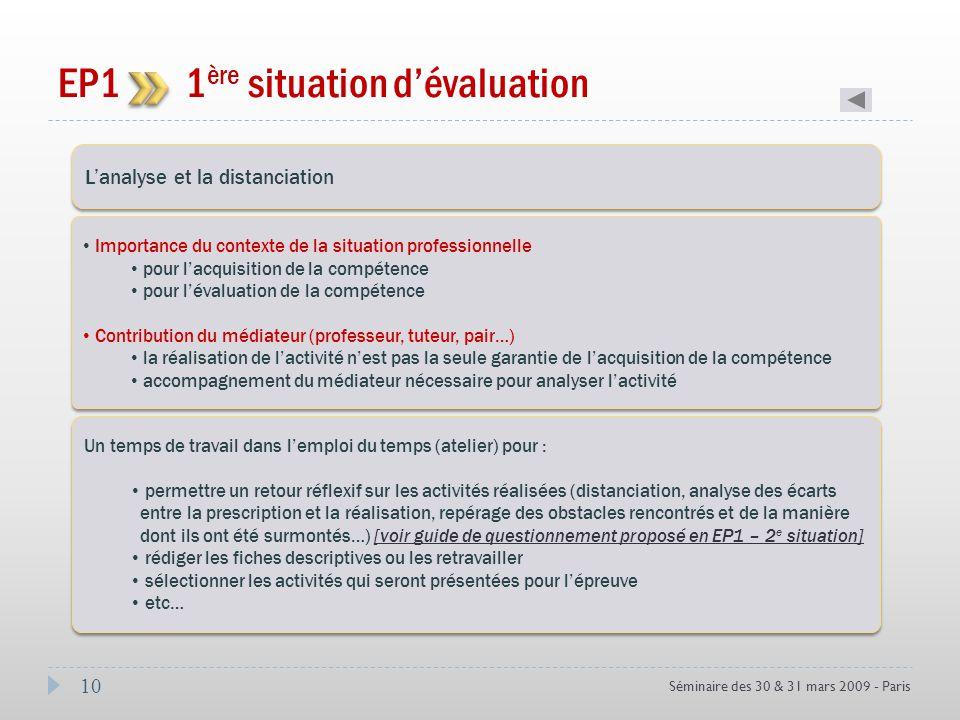 10 Séminaire des 30 & 31 mars 2009 - Paris EP1 1 ère situation dévaluation Coef 3 Lanalyse et la distanciation Importance du contexte de la situation