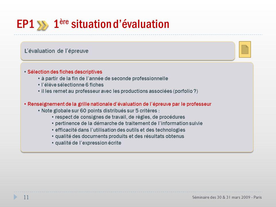 11 Séminaire des 30 & 31 mars 2009 - Paris EP1 1 ère situation dévaluation Coef 3 Lévaluation de lépreuve Sélection des fiches descriptives à partir d