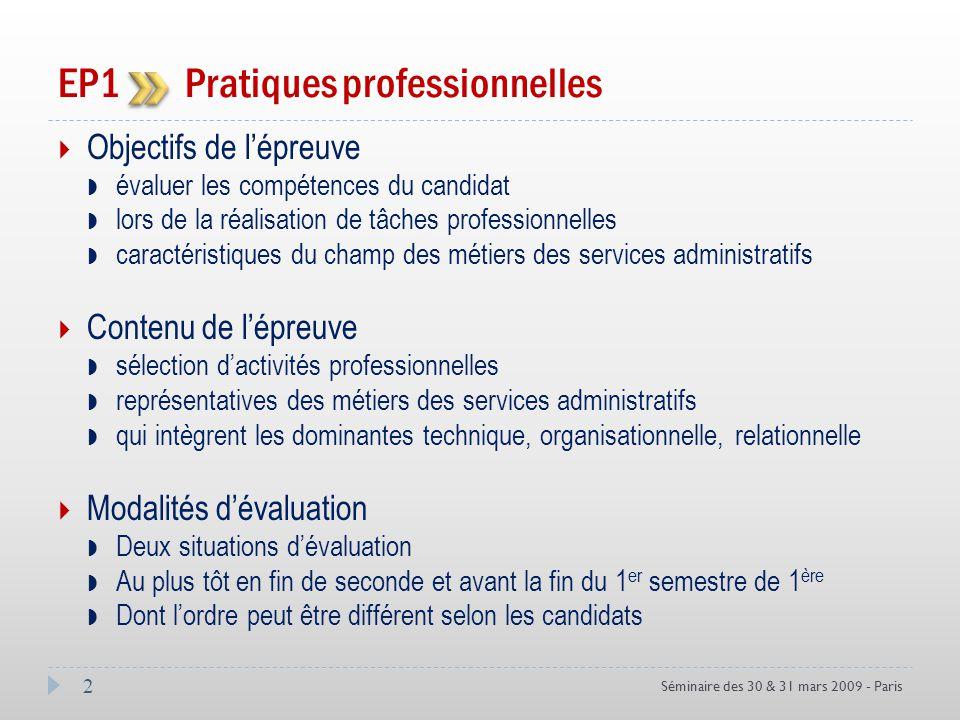 Objectifs de lépreuve évaluer les compétences du candidat lors de la réalisation de tâches professionnelles caractéristiques du champ des métiers des