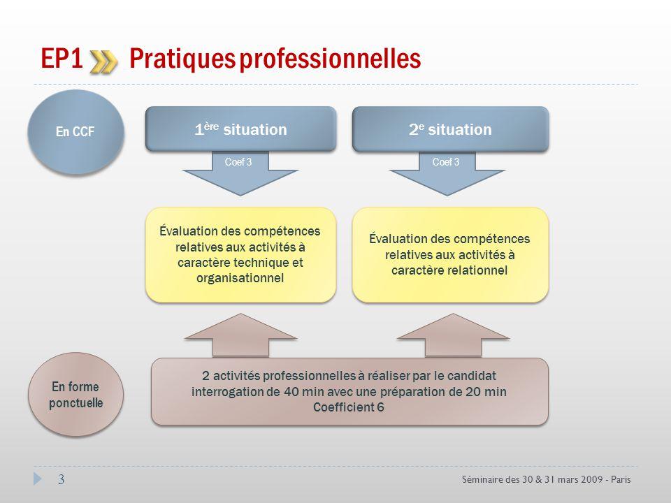 3 Séminaire des 30 & 31 mars 2009 - Paris EP1 Pratiques professionnelles En CCF Coef 3 En forme ponctuelle 2 activités professionnelles à réaliser par
