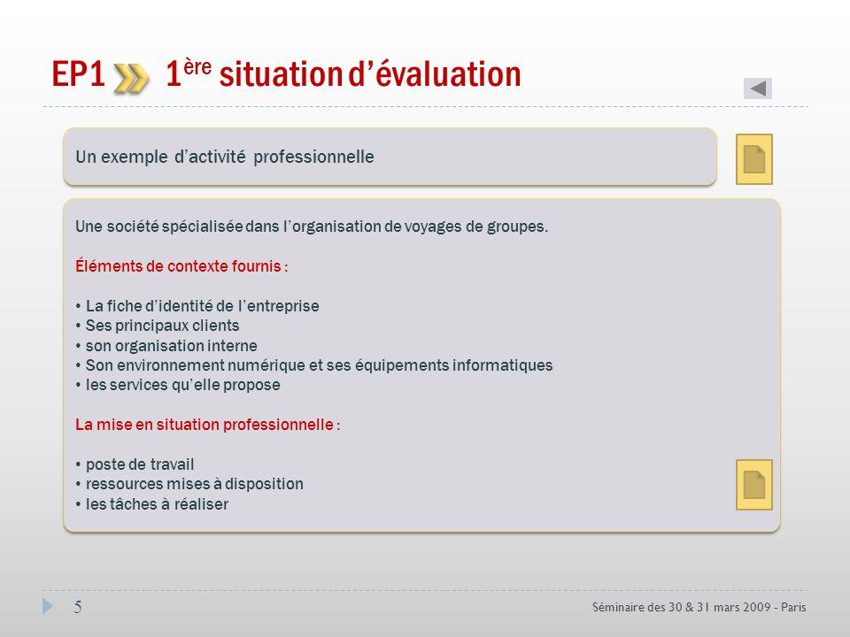5 Séminaire des 30 & 31 mars 2009 - Paris EP1 1 ère situation dévaluation Coef 3 Un exemple dactivité professionnelle Une société spécialisée dans lor