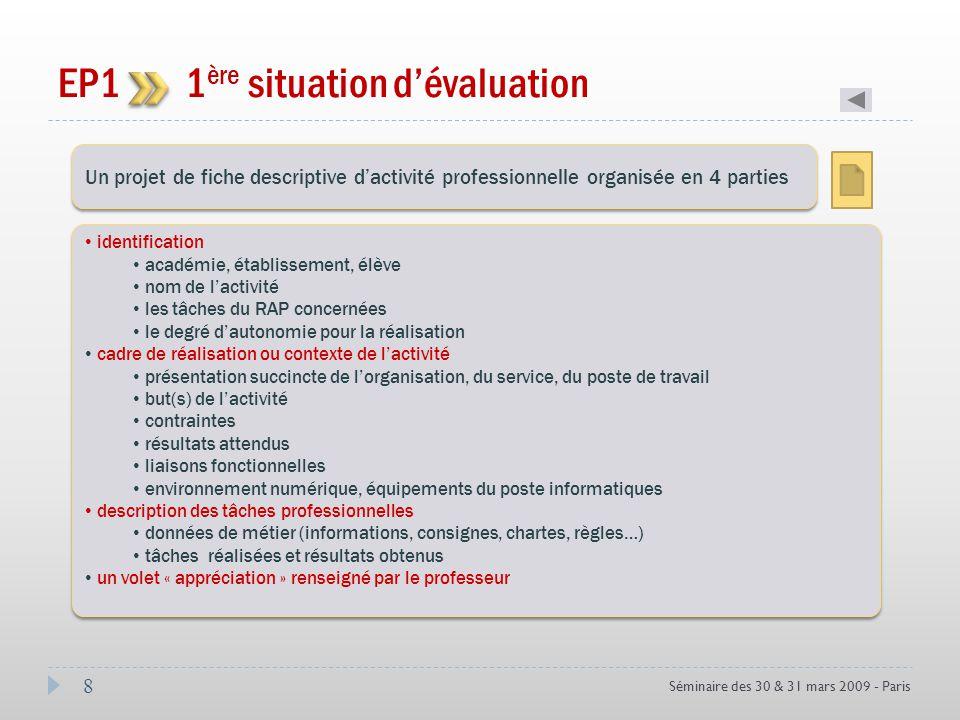 8 Séminaire des 30 & 31 mars 2009 - Paris EP1 1 ère situation dévaluation Coef 3 Un projet de fiche descriptive dactivité professionnelle organisée en