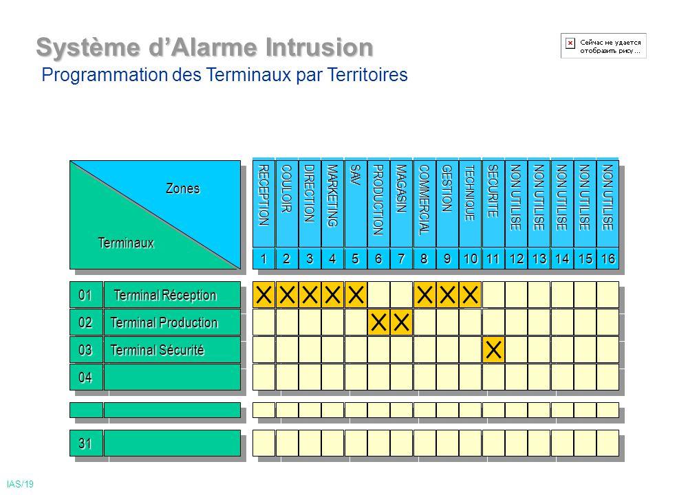 TerminauxTerminauxZonesZones 0101 Terminal Réception Terminal Réception 0202 Système dAlarme Intrusion 1 0303 Terminal Production Terminal Sécurité 0404 3131 Programmation des Terminaux par Territoires IAS/19 2345678910111213141516 NON UTILISE SECURITETECHNIQUEGESTIONCOMMERCIALMAGASINPRODUCTIONSAVMARKETINGDIRECTIONCOULOIRRECEPTION