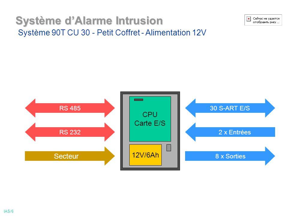 Système dAlarme Intrusion 30 S-ART E/S 8 x Sorties RS 232 Secteur 12V/6Ah CPU Carte E/S RS 485 Système 90T CU 30 - Petit Coffret - Alimentation 12V 2 x Entrées IAS/6