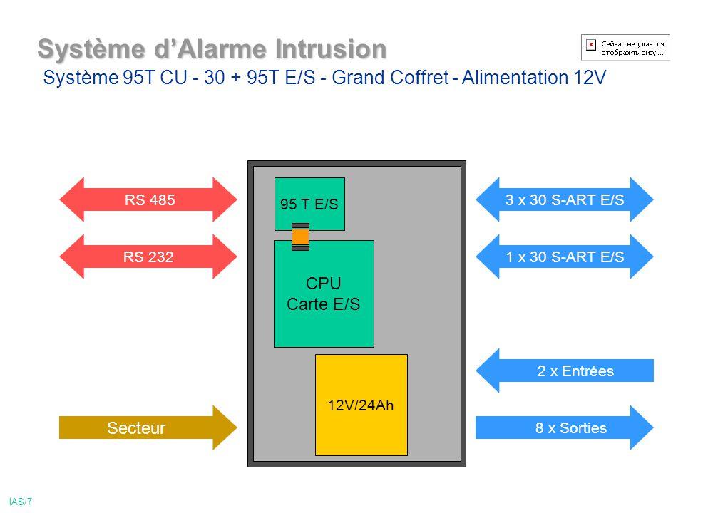 Système dAlarme Intrusion 12V/24Ah CPU Carte E/S 95 T E/S 2 x Entrées 3 x 30 S-ART E/S 1 x 30 S-ART E/SRS 232 Secteur RS 485 8 x Sorties Système 95T CU - 30 + 95T E/S - Grand Coffret - Alimentation 12V IAS/7