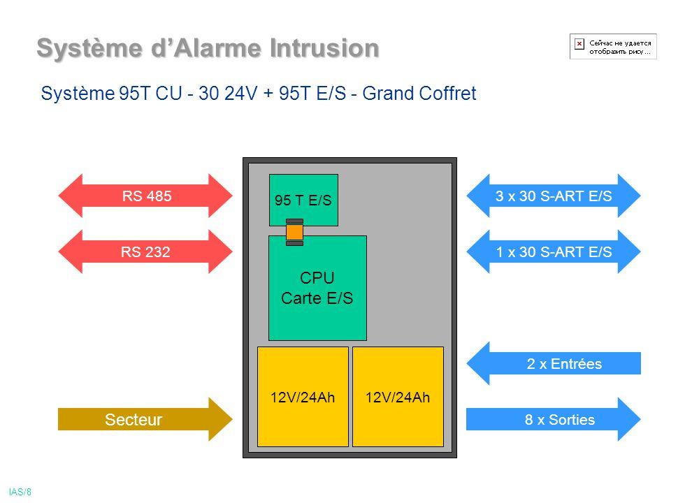 Système dAlarme Intrusion IAS/8 12V/24Ah CPU Carte E/S 95 T E/S 2 x Entrées 3 x 30 S-ART E/S 1 x 30 S-ART E/SRS 232 Secteur RS 485 8 x Sorties 12V/24Ah Système 95T CU - 30 24V + 95T E/S - Grand Coffret