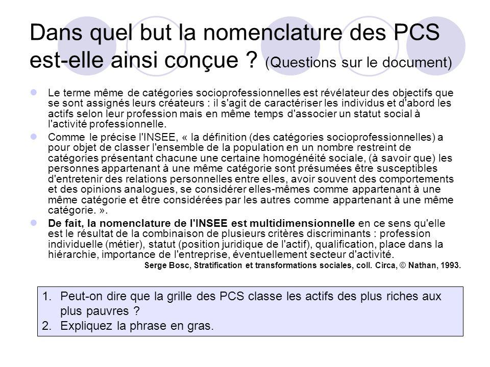 Dans quel but la nomenclature des PCS est-elle ainsi conçue .