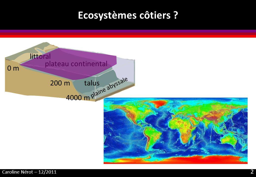 Caroline Nérot – 12/2011 2 Ecosystèmes côtiers ? talus plateau continental plaine abyssale littoral 0 m 200 m 4000 m