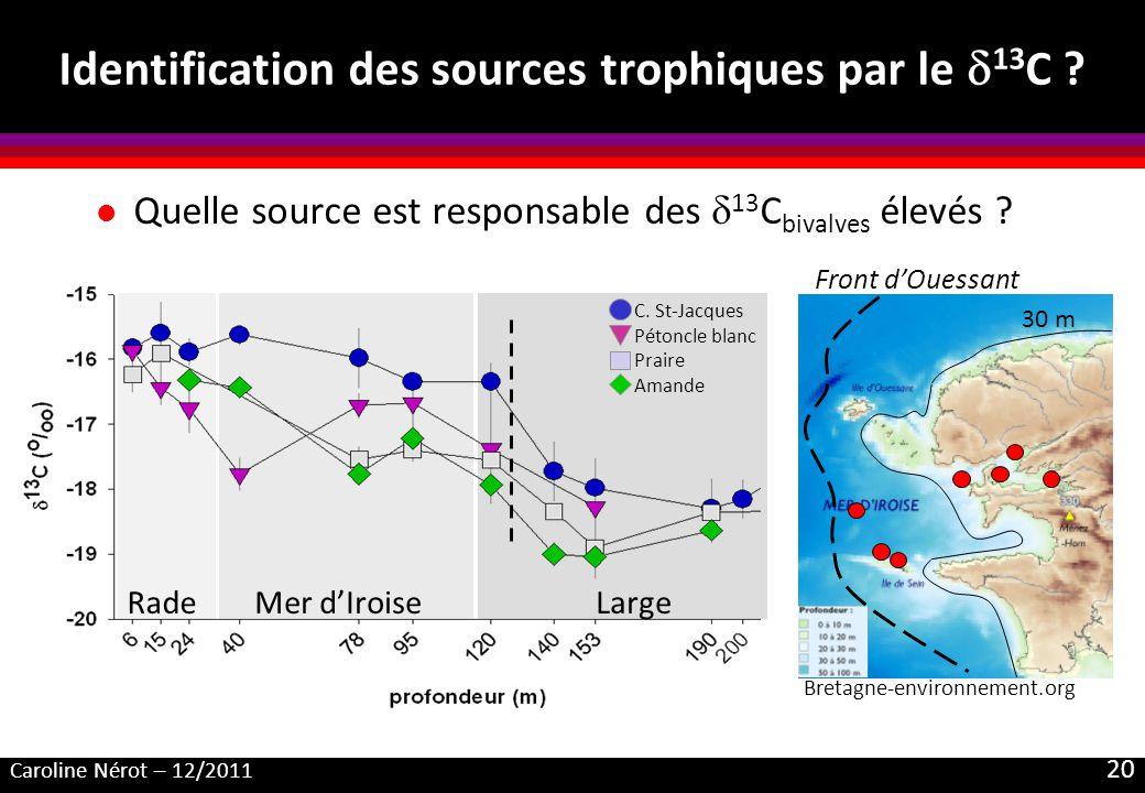 Caroline Nérot – 12/2011 20 Identification des sources trophiques par le 13 C ? l Quelle source est responsable des 13 C bivalves élevés ? RadeMer dIr