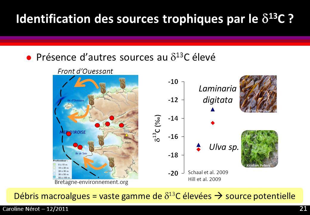 Caroline Nérot – 12/2011 21 Identification des sources trophiques par le 13 C ? l Présence dautres sources au 13 C élevé Kristian Peters Débris macroa