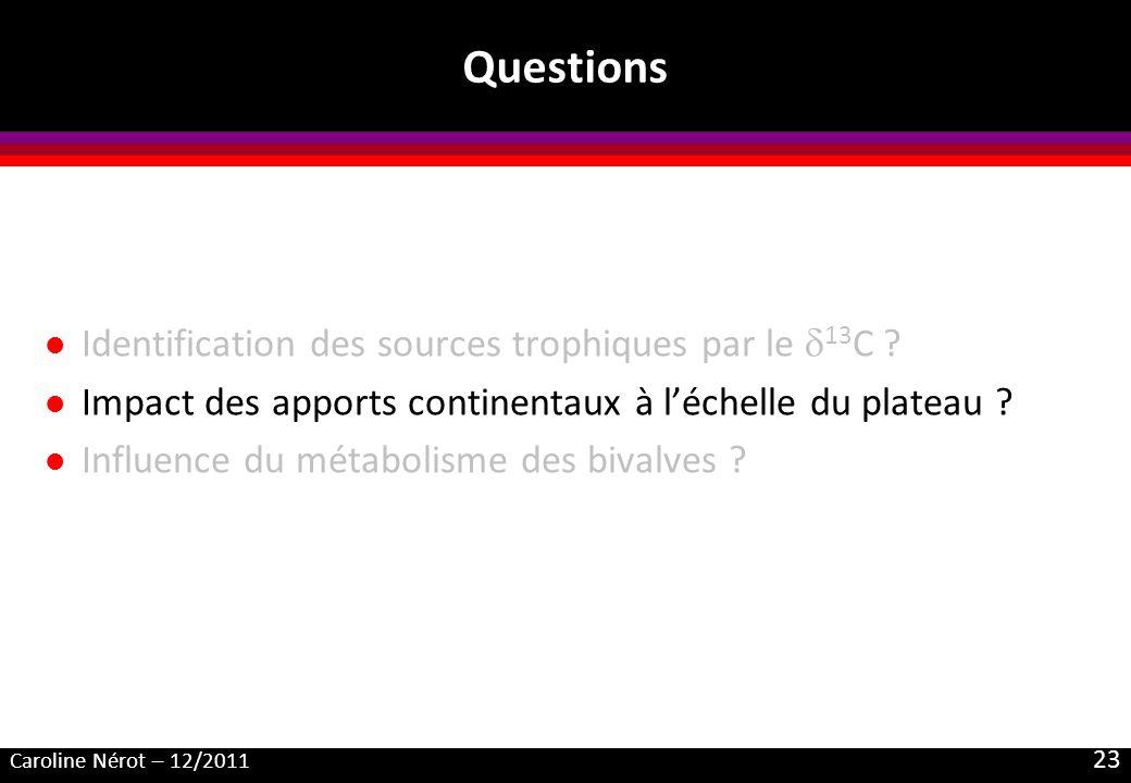 Caroline Nérot – 12/2011 23 Questions l Identification des sources trophiques par le 13 C ? l Impact des apports continentaux à léchelle du plateau ?
