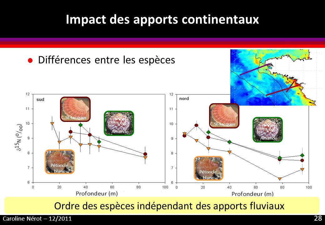 Caroline Nérot – 12/2011 28 Impact des apports continentaux l Différences entre les espèces Amande Pétoncle blanc C.St-Jacques Amande Pétoncle blanc C
