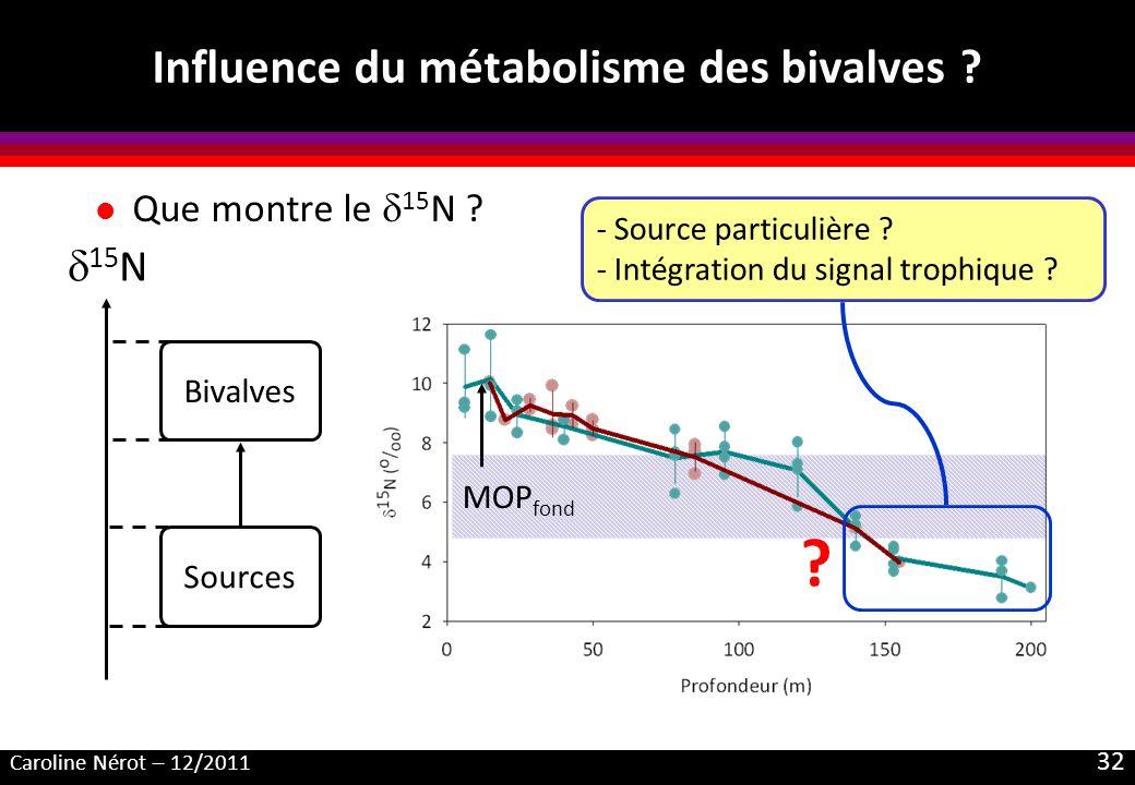 Caroline Nérot – 12/2011 32 MOP fond Influence du métabolisme des bivalves ? l Que montre le 15 N ? Sources Bivalves 15 N ? - Source particulière ? -