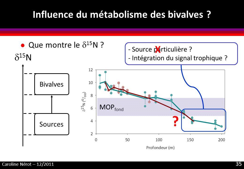 Caroline Nérot – 12/2011 35 MOP fond Influence du métabolisme des bivalves ? l Que montre le 15 N ? Sources Bivalves 15 N ? - Source particulière ? -