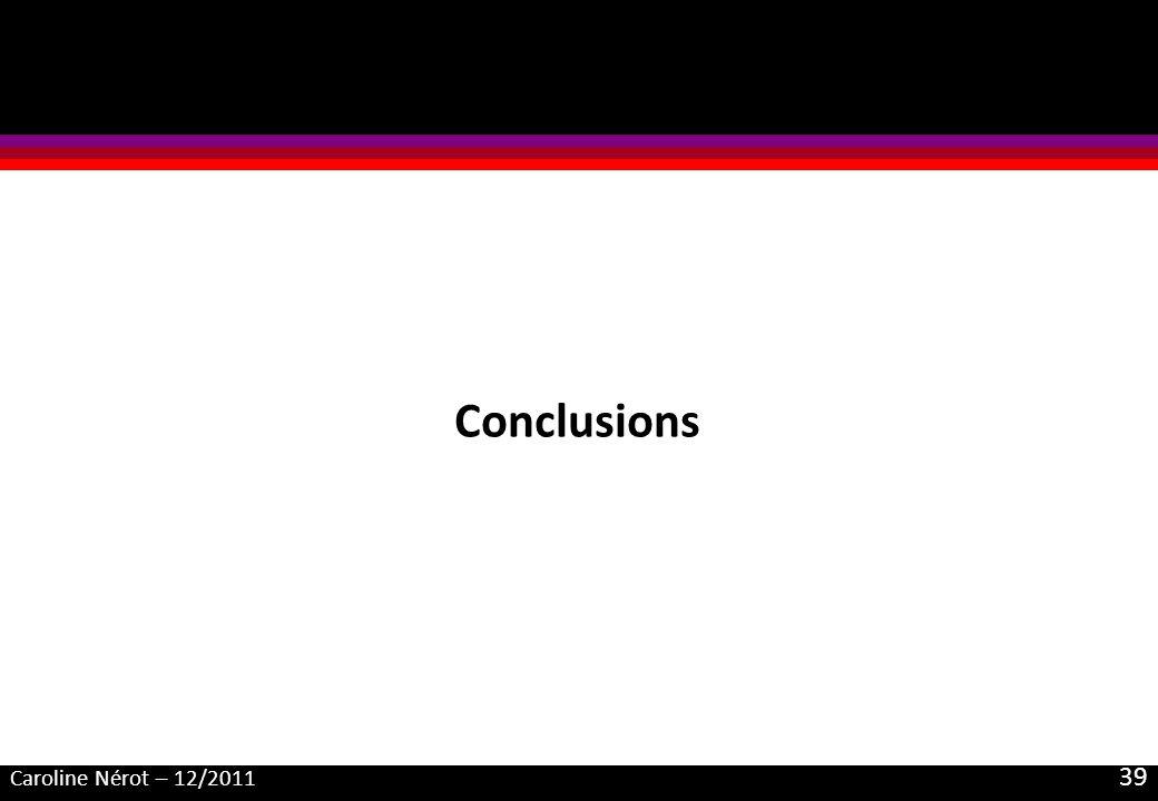 Caroline Nérot – 12/2011 39 Conclusions