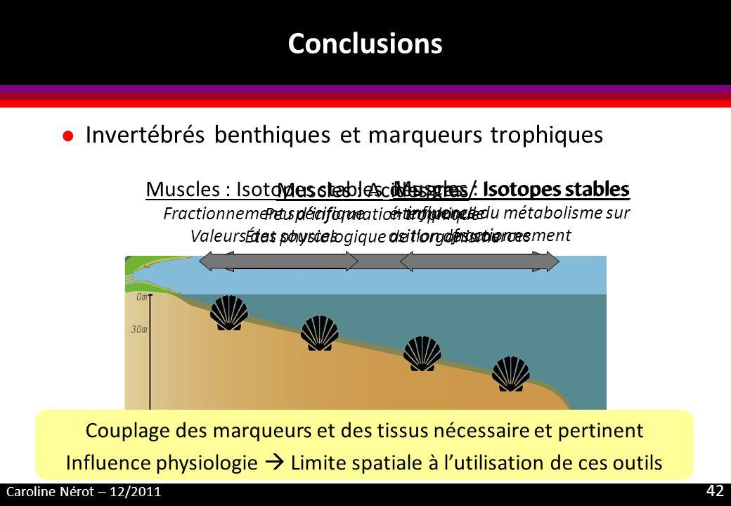 Caroline Nérot – 12/2011 42 Conclusions l Invertébrés benthiques et marqueurs trophiques Glandes digestives : Acides gras / Isotopes stables Variabili