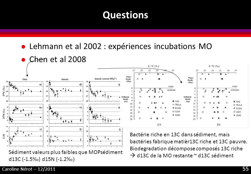 Caroline Nérot – 12/2011 55 Questions l Lehmann et al 2002 : expériences incubations MO l Chen et al 2008 Bactérie riche en 13C dans sédiment, mais ba