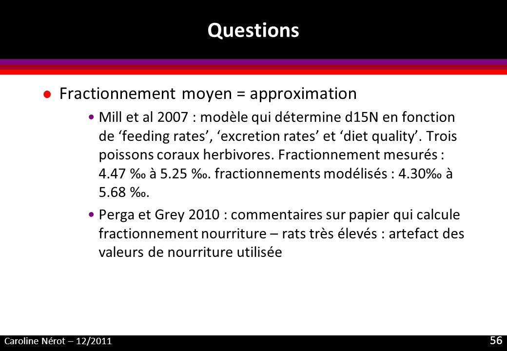 Caroline Nérot – 12/2011 56 Questions l Fractionnement moyen = approximation Mill et al 2007 : modèle qui détermine d15N en fonction de feeding rates, excretion rates et diet quality.