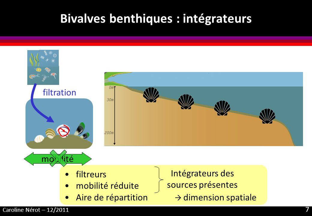 Caroline Nérot – 12/2011 7 Bivalves benthiques : intégrateurs filtration filtreurs mobilité réduite Aire de répartition dimension spatiale mobilité Intégrateurs des sources présentes