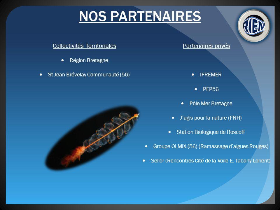 NOS PARTENAIRES Collectivités Territoriales Région Bretagne St Jean Brévelay Communauté (56) Partenaires privés IFREMER PEP56 Pôle Mer Bretagne Jagis