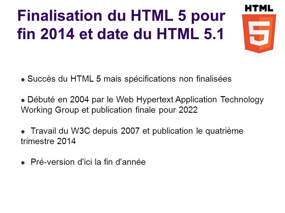 Finalisation du HTML 5 pour fin 2014 et date du HTML 5.1 Succès du HTML 5 mais spécifications non finalisées Débuté en 2004 par le Web Hypertext Application Technology Working Group et publication finale pour 2022 Travail du W3C depuis 2007 et publication le quatrième trimestre 2014 Pré-version d ici la fin d année -