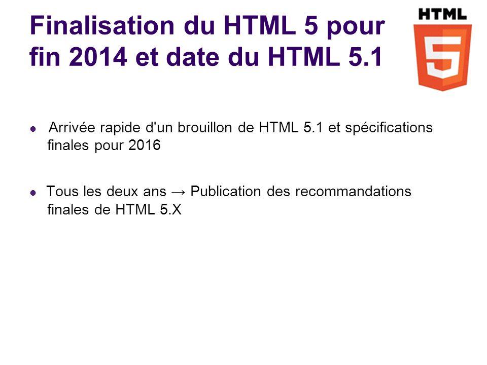 Finalisation du HTML 5 pour fin 2014 et date du HTML 5.1 Arrivée rapide d un brouillon de HTML 5.1 et spécifications finales pour 2016 Tous les deux ans Publication des recommandations finales de HTML 5.X