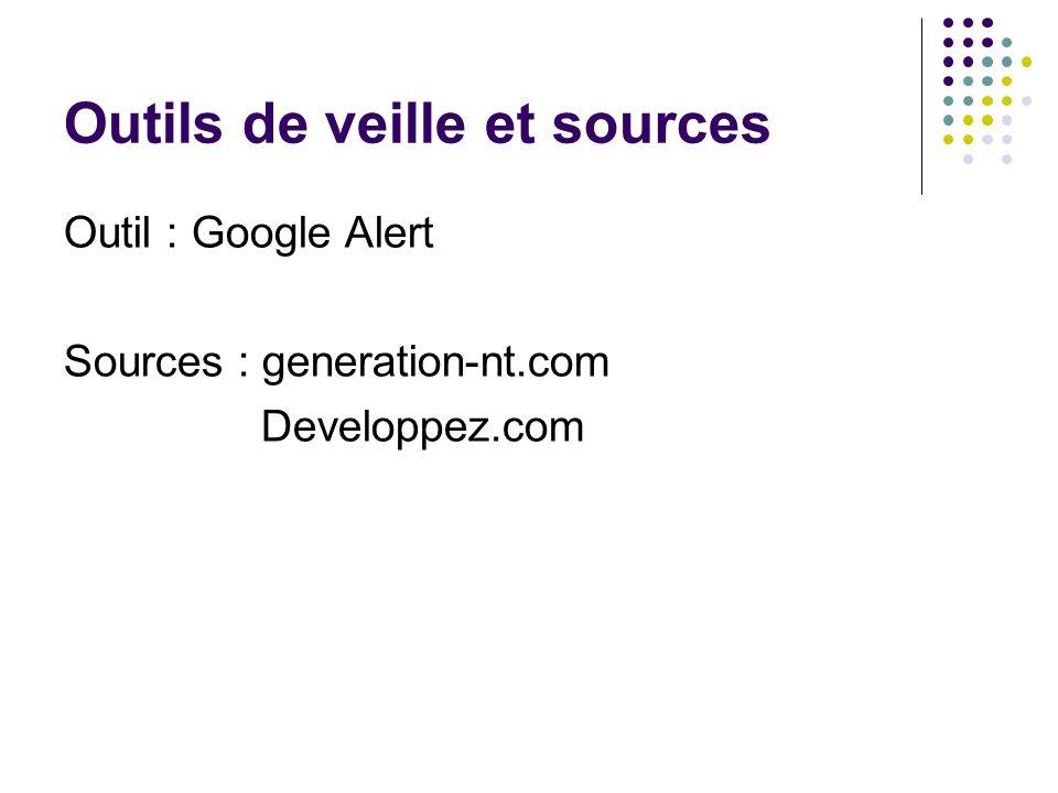 Outils de veille et sources Outil : Google Alert Sources : generation-nt.com Developpez.com
