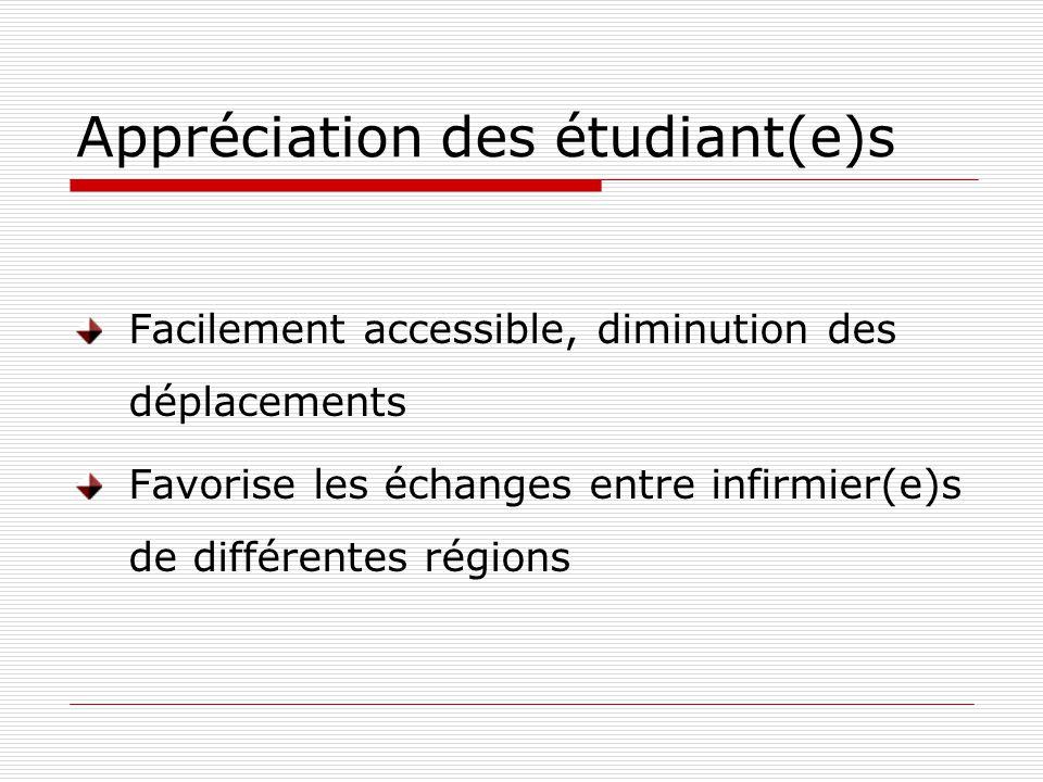 Appréciation des étudiant(e)s Facilement accessible, diminution des déplacements Favorise les échanges entre infirmier(e)s de différentes régions