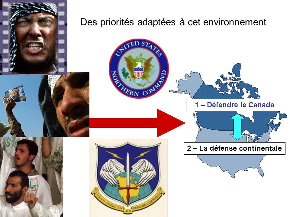 Domestic Realities International Challenges 2 – La défense continentale 1 – Défendre le Canada Des priorités adaptées à cet environnement
