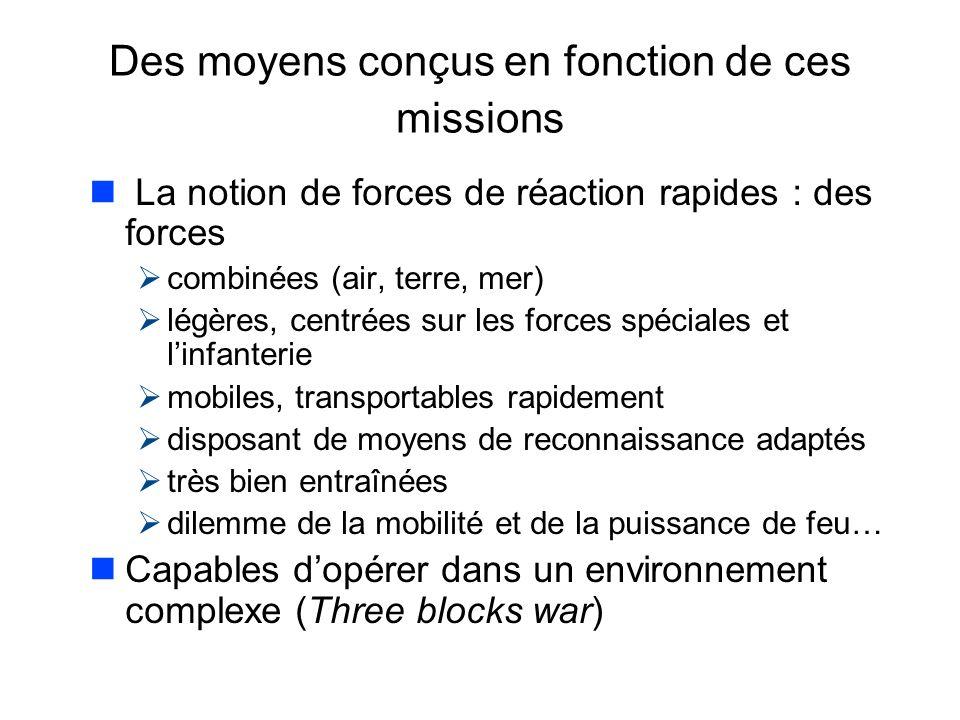 Des moyens conçus en fonction de ces missions n La notion de forces de réaction rapides : des forces combinées (air, terre, mer) légères, centrées sur