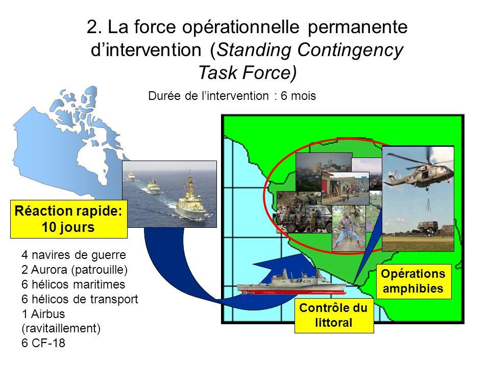 Three Block War Réaction rapide: 10 jours Contrôle du littoral Opérations amphibies 2. La force opérationnelle permanente dintervention (Standing Cont