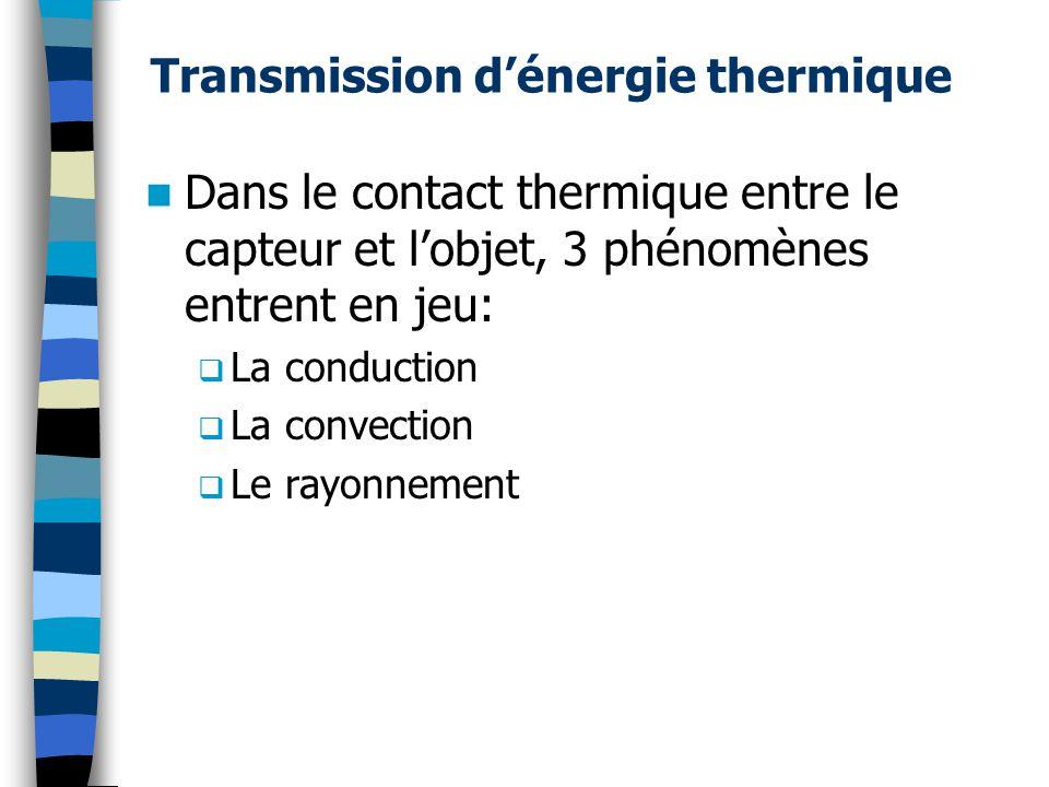 Transmission dénergie thermique Dans le contact thermique entre le capteur et lobjet, 3 phénomènes entrent en jeu: La conduction La convection Le rayo