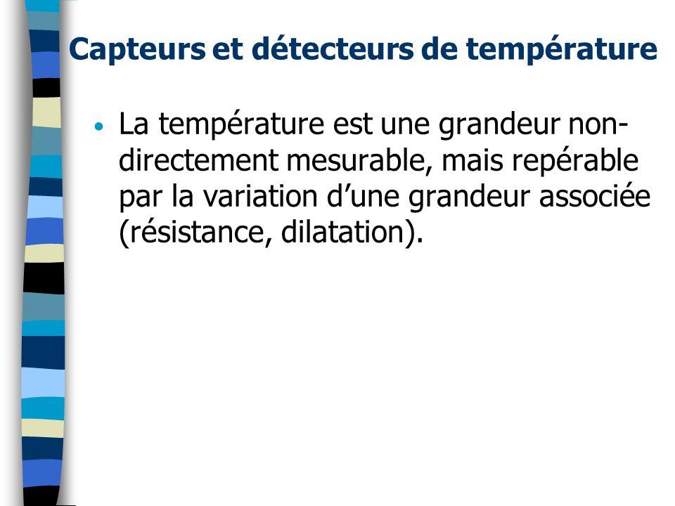 Capteurs et détecteurs de température La température est une grandeur non- directement mesurable, mais repérable par la variation dune grandeur associée (résistance, dilatation).