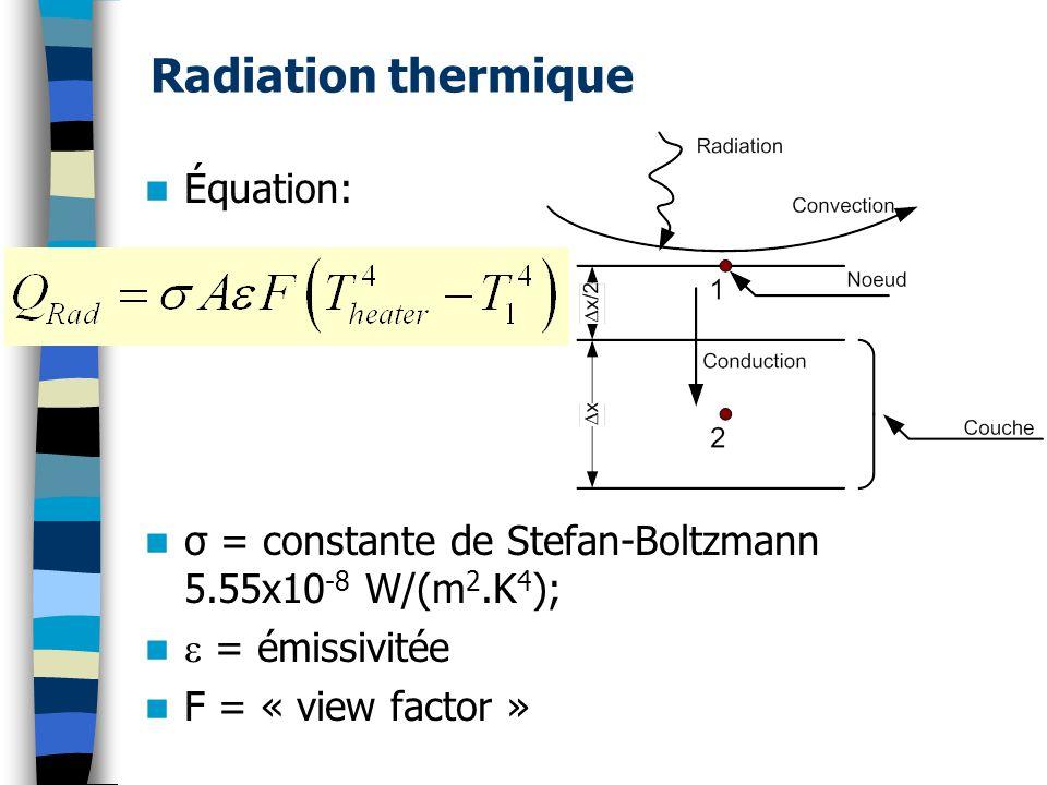 Équation: σ = constante de Stefan-Boltzmann 5.55x10 -8 W/(m 2.K 4 ); = émissivitée F = « view factor »