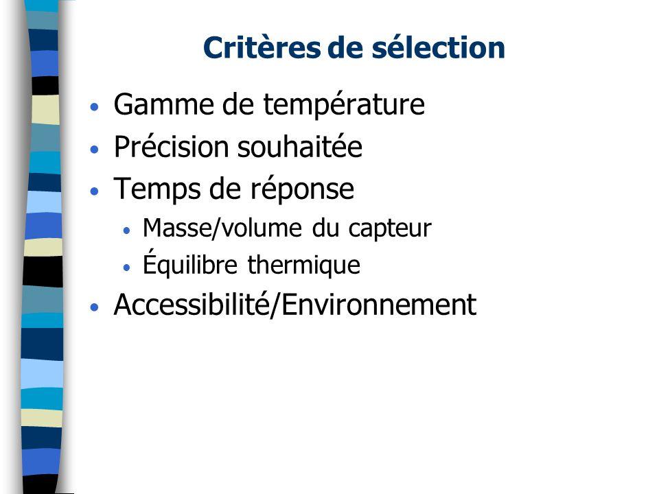 Critères de sélection Gamme de température Précision souhaitée Temps de réponse Masse/volume du capteur Équilibre thermique Accessibilité/Environnemen