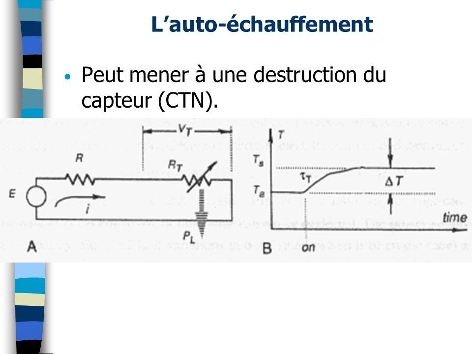 Lauto-échauffement Peut mener à une destruction du capteur (CTN).