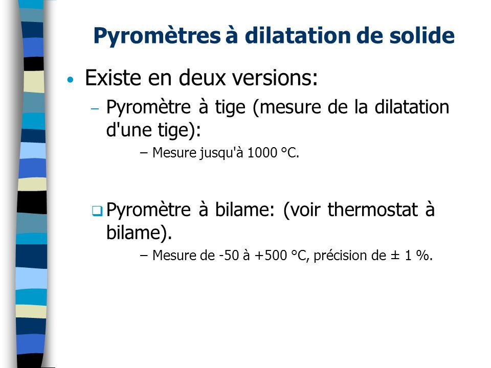 Pyromètres à dilatation de solide Existe en deux versions: – Pyromètre à tige (mesure de la dilatation d une tige): –Mesure jusqu à 1000 °C.