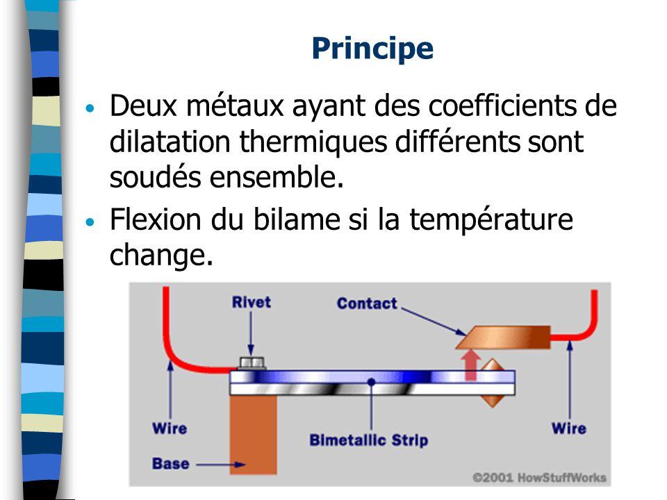 Principe Deux métaux ayant des coefficients de dilatation thermiques différents sont soudés ensemble. Flexion du bilame si la température change.
