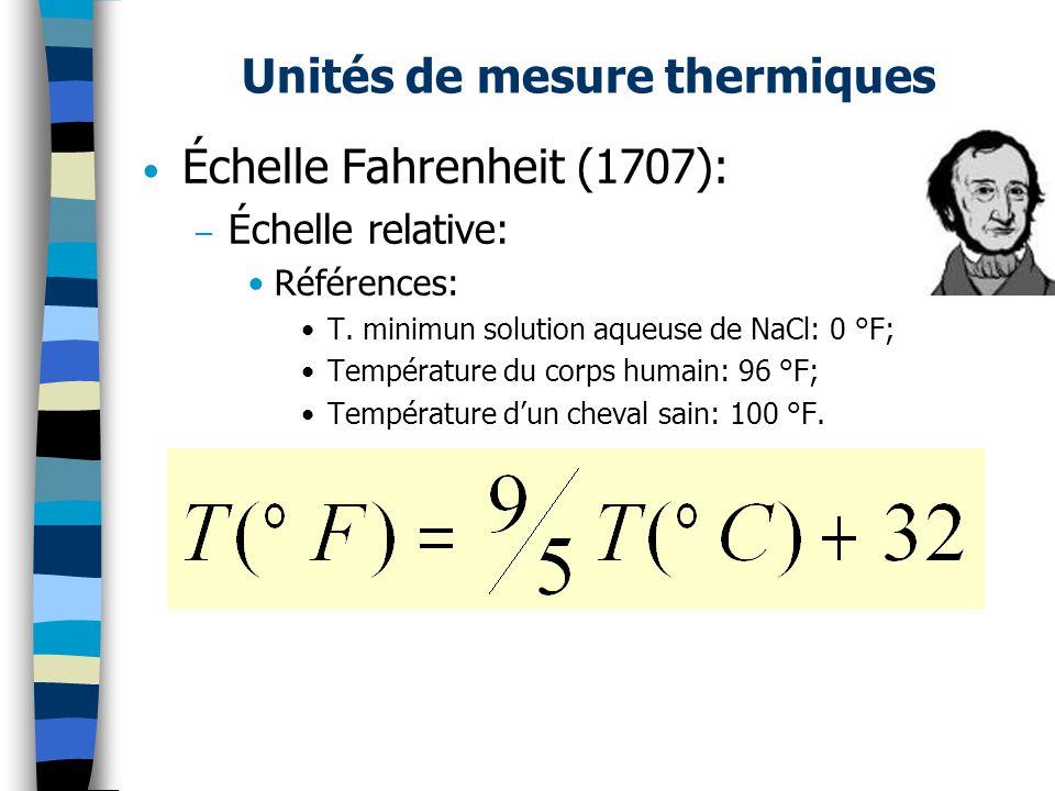 Unités de mesure thermiques Échelle Fahrenheit (1707): – Échelle relative: Références: T. minimun solution aqueuse de NaCl: 0 °F; Température du corps