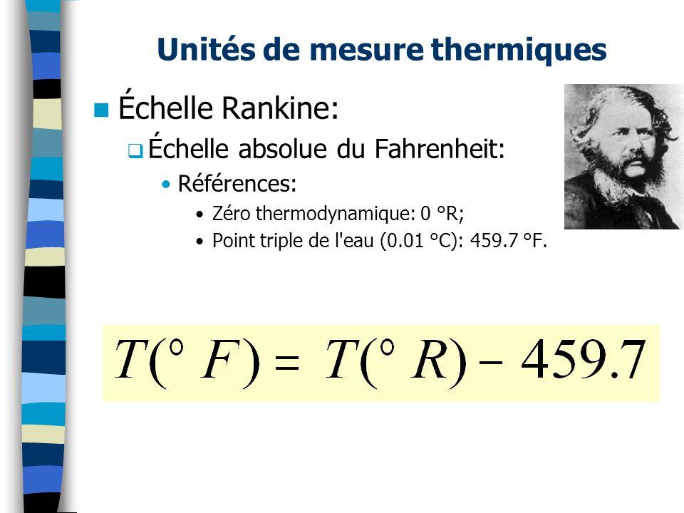 Unités de mesure thermiques Échelle Rankine: Échelle absolue du Fahrenheit: Références: Zéro thermodynamique: 0 °R; Point triple de l eau (0.01 °C): 459.7 °F.