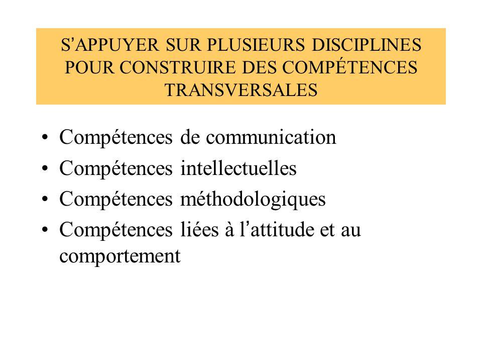 S APPUYER SUR PLUSIEURS DISCIPLINES POUR CONSTRUIRE DES COMPÉTENCES TRANSVERSALES Compétences de communication Compétences intellectuelles Compétences