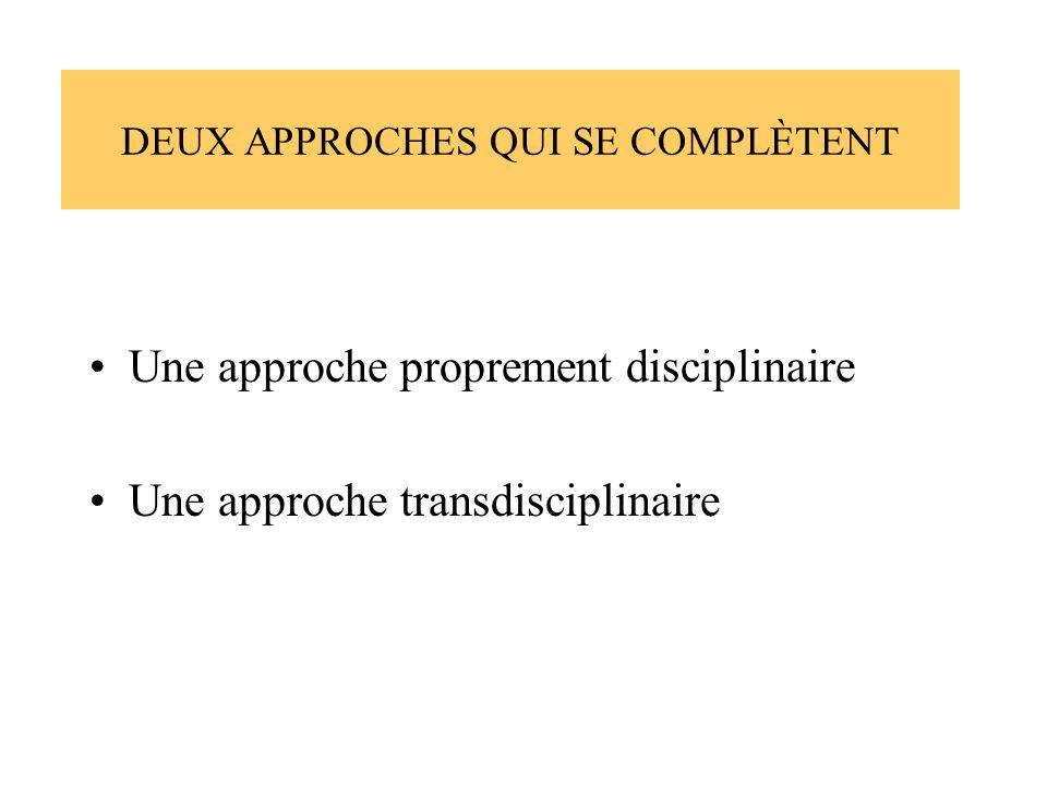 DEUX APPROCHES QUI SE COMPLÈTENT Une approche proprement disciplinaire Une approche transdisciplinaire