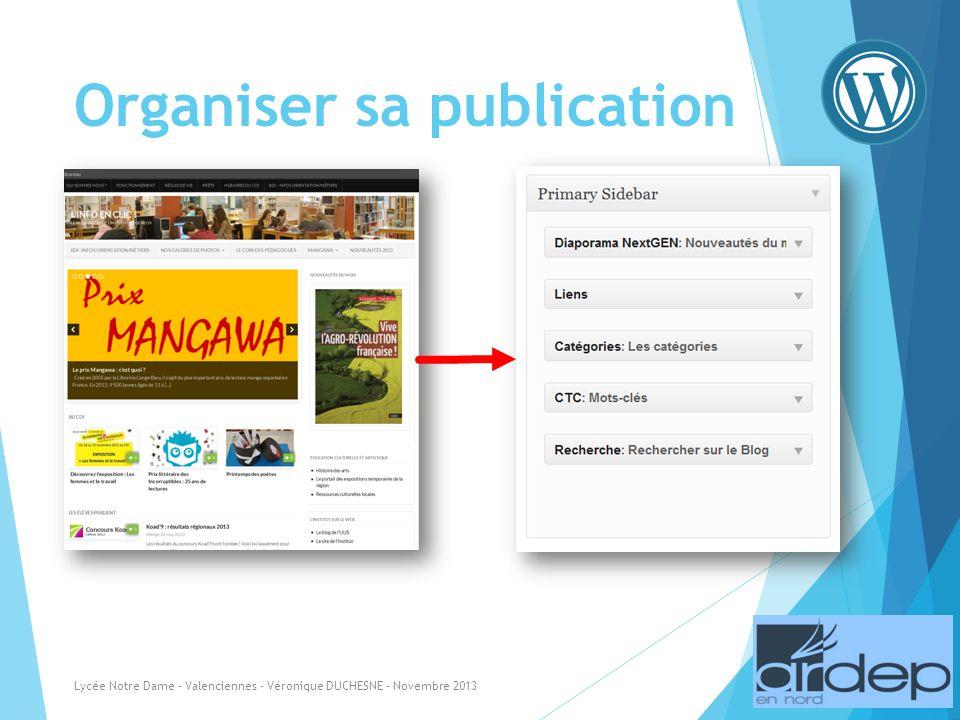 Organiser sa publication Lycée Notre Dame - Valenciennes - Véronique DUCHESNE - Novembre 2013