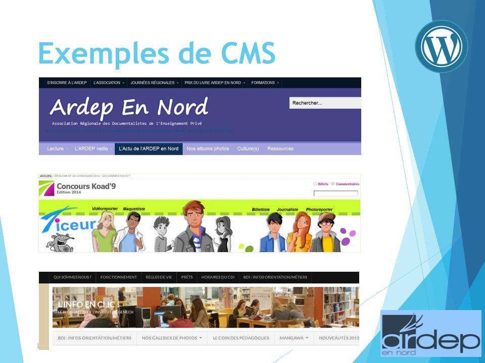Exemples de CMS Lycée Notre Dame - Valenciennes - Véronique DUCHESNE - Novembre 2013