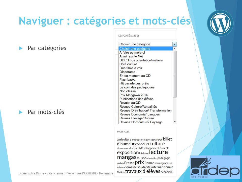 Naviguer : catégories et mots-clés Par catégories Par mots-clés Lycée Notre Dame - Valenciennes - Véronique DUCHESNE - Novembre 2013