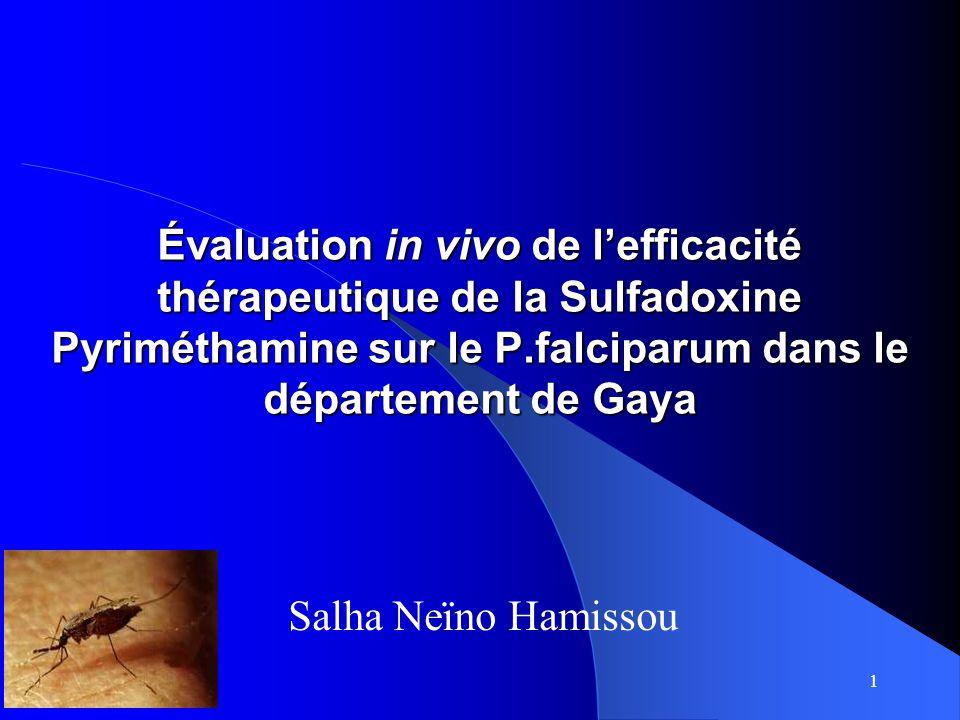 1 Évaluation in vivo de lefficacité thérapeutique de la Sulfadoxine Pyriméthamine sur le P.falciparum dans le département de Gaya Salha Neïno Hamissou