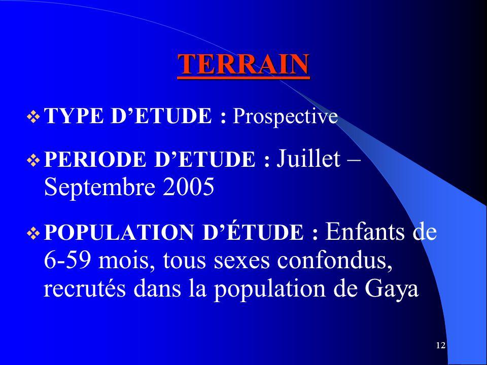 12 TERRAIN TYPE DETUDE : Prospective PERIODE DETUDE : Juillet – Septembre 2005 POPULATION DÉTUDE : Enfants de 6-59 mois, tous sexes confondus, recrutés dans la population de Gaya