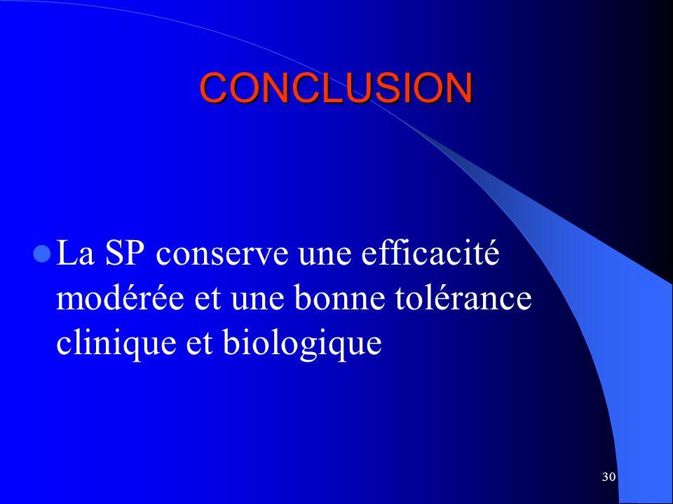 30 CONCLUSION La SP conserve une efficacité modérée et une bonne tolérance clinique et biologique